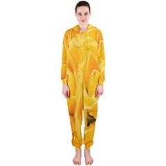 Yellow Neon Flowers Hooded Jumpsuit (Ladies)