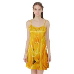 Yellow Neon Flowers Satin Night Slip