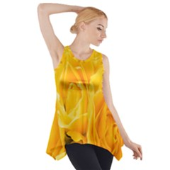 Yellow Neon Flowers Side Drop Tank Tunic