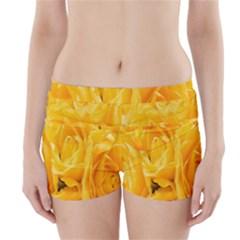Yellow Neon Flowers Boyleg Bikini Wrap Bottoms