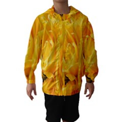 Yellow Neon Flowers Hooded Wind Breaker (Kids)