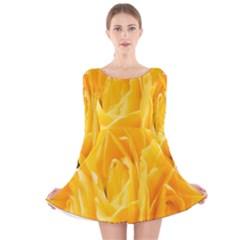 Yellow Neon Flowers Long Sleeve Velvet Skater Dress