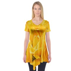 Yellow Neon Flowers Short Sleeve Tunic
