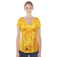 Yellow Neon Flowers Short Sleeve Front Detail Top