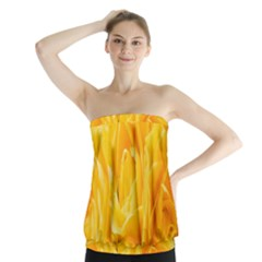 Yellow Neon Flowers Strapless Top