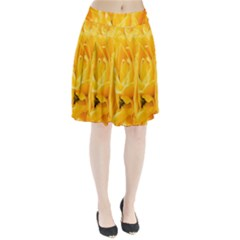 Yellow Neon Flowers Pleated Skirt