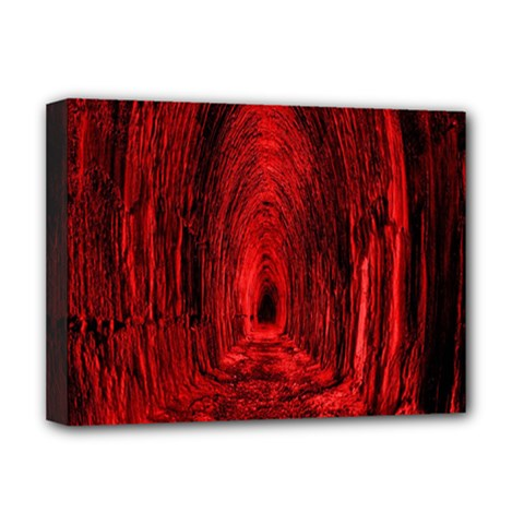 Tunnel Red Black Light Deluxe Canvas 16  x 12