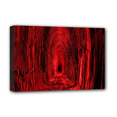 Tunnel Red Black Light Deluxe Canvas 18  x 12