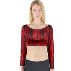 Tunnel Red Black Light Long Sleeve Crop Top