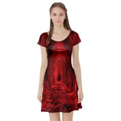 Tunnel Red Black Light Short Sleeve Skater Dress