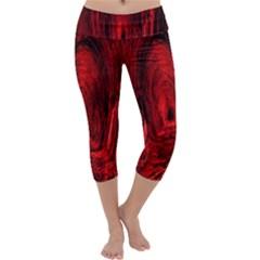 Tunnel Red Black Light Capri Yoga Leggings