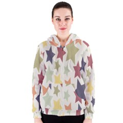 Star Colorful Surface Women s Zipper Hoodie