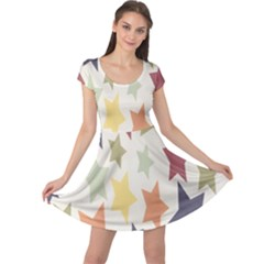 Star Colorful Surface Cap Sleeve Dresses