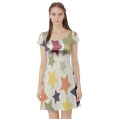 Star Colorful Surface Short Sleeve Skater Dress