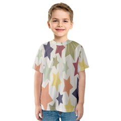 Star Colorful Surface Kids  Sport Mesh Tee