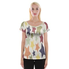 Star Colorful Surface Women s Cap Sleeve Top