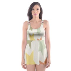 Star Colorful Surface Skater Dress Swimsuit