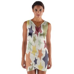 Star Colorful Surface Wrap Front Bodycon Dress