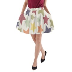 Star Colorful Surface A-Line Pocket Skirt