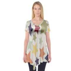 Star Colorful Surface Short Sleeve Tunic