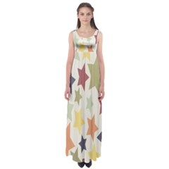 Star Colorful Surface Empire Waist Maxi Dress