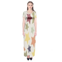 Star Colorful Surface Short Sleeve Maxi Dress