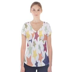 Star Colorful Surface Short Sleeve Front Detail Top