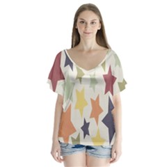 Star Colorful Surface Flutter Sleeve Top