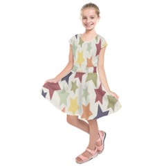 Star Colorful Surface Kids  Short Sleeve Dress