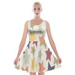 Star Colorful Surface Velvet Skater Dress