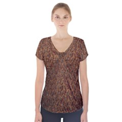 Texture Background Rust Surface Shape Short Sleeve Front Detail Top