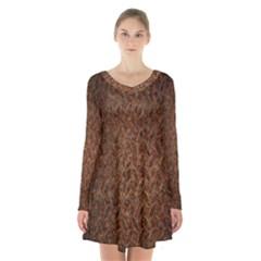 Texture Background Rust Surface Shape Long Sleeve Velvet V Neck Dress