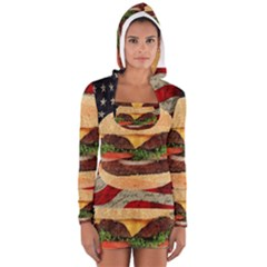 Hamburger Women s Long Sleeve Hooded T-shirt