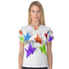 Paper cranes Women s V-Neck Sport Mesh Tee