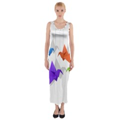 Paper cranes Fitted Maxi Dress