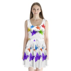 Paper cranes Split Back Mini Dress