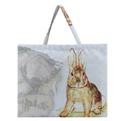 Rabbit  Zipper Large Tote Bag