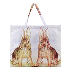 Rabbits  Zipper Large Tote Bag