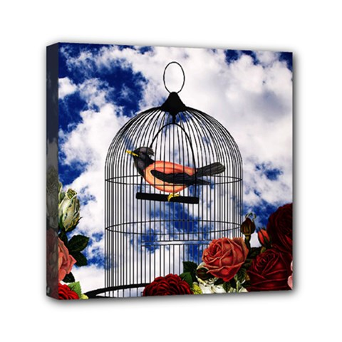 Vintage bird in the cage  Mini Canvas 6  x 6