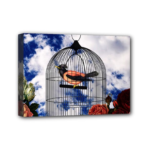 Vintage bird in the cage  Mini Canvas 7  x 5