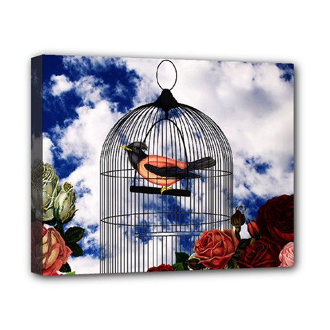 Vintage bird in the cage  Canvas 10  x 8