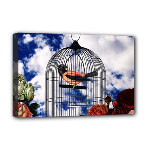 Vintage bird in the cage  Deluxe Canvas 18  x 12