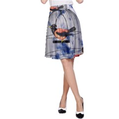Vintage bird in the cage  A-Line Skirt