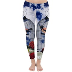 Vintage bird in the cage  Classic Winter Leggings