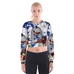 Vintage bird in the cage  Women s Cropped Sweatshirt
