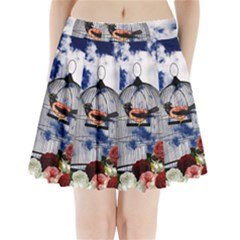 Vintage bird in the cage  Pleated Mini Skirt