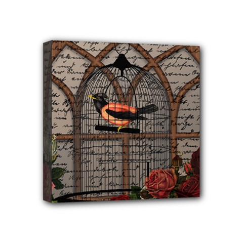 Vintage bird in the cage Mini Canvas 4  x 4