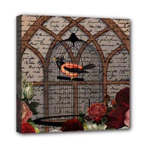 Vintage bird in the cage Mini Canvas 8  x 8