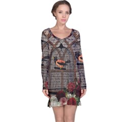 Vintage bird in the cage Long Sleeve Nightdress