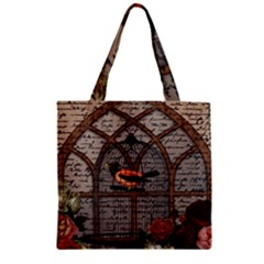 Vintage bird in the cage Zipper Grocery Tote Bag